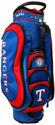 MLB Texas Rangers Medalist Cart Bag, Blue by Team Golf. $149.99. Integrated top handle and 14-way full length dividers. 8 location embroidery and 5 zippered pockets. Padded strap with strap pouch and fleece-lined valuables pouch. 50% nylon/50% plastic. External putter well and 3 lift assist handles. Removable rain hood and umbrella holder and towel ring. This bag is loaded with features, including integrated top handle, 14-way full length dividers, 8 location embroidery, 5 zippe...