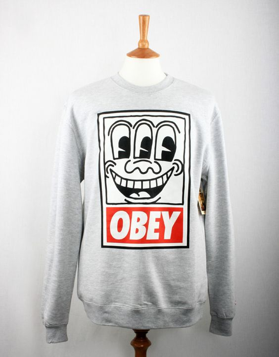 Obey Keith Haring Eyes Sweatshirt - Heather Grey available from http://www.togsandclogs.com/collections/obey (via @HaddonPR)