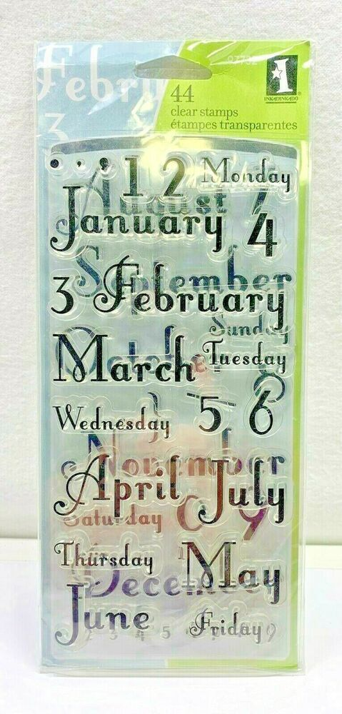 New Inkadinkado Months And Days Acrylic Clear Stamps Fourth Four Set 2007 725718977320 Ebay In 2021 Clear Stamps Stamp Day