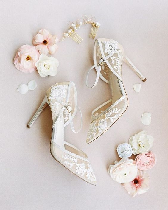 Floral Lace Bridal Shoes Lace Bridal Shoes Unique Wedding Shoes Bridal Shoes