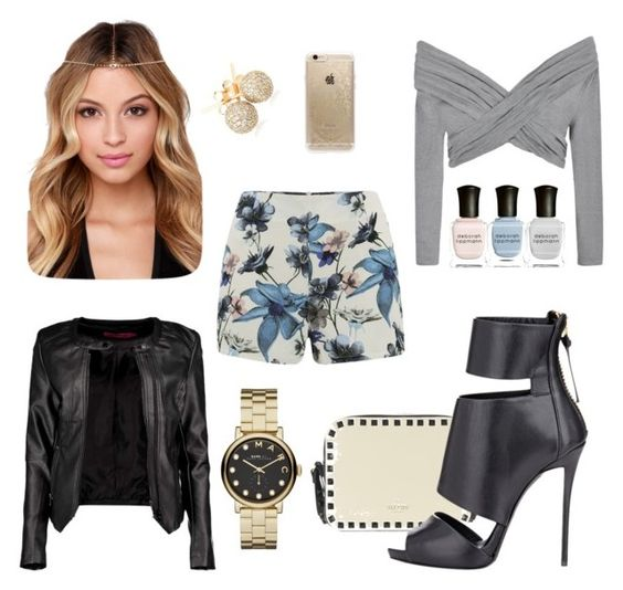 """Print shorts with a classic black leather jacket ✨"" by gmercado-1 on Polyvore featuring Boohoo, Ally Fashion, ONLY, Rifle Paper Co, Giuseppe Zanotti, Marc by Marc Jacobs, Loushelou and Deborah Lippmann"