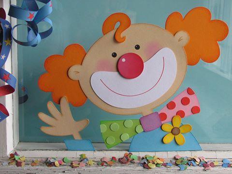 Fensterbild Clown Bastelideen Karneval Deko Basteln