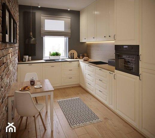 Przytulne M4 Na Pradze Srednia Zamknieta Waska Czarna Kuchnia W Ksztalcie Litery L Z Oknem Styl Prowans Kitchen Cabinet Design Kitchen Island Design Kitchen