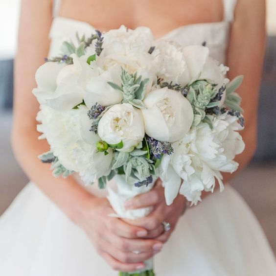 Beautiful white bridal bouquet with dusty miller and lavender | A Day Of Bliss Wedding Photography | Emerald Gardens