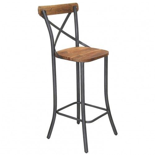 Une Chaise Haute De Bar Facon Bistrot Avec Son Dossier Croisillon