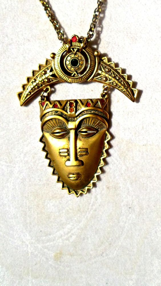 Face Tribal Necklace Goldtone Filigree by SteampunkEarthstones, $38.00