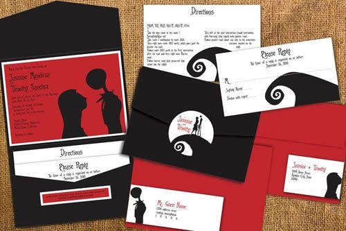 Black Red White Nightmare Inspired Wedding Invitation Nightmare Before Christmas Wedding Christmas Wedding Invitations Christmas Invitations Template