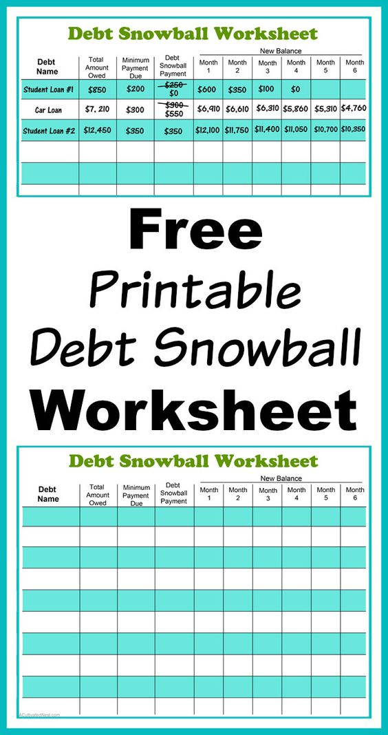 Free Printable Debt Snowball Worksheet- Pay Down Your Debt! Debt - debt payoff calculator