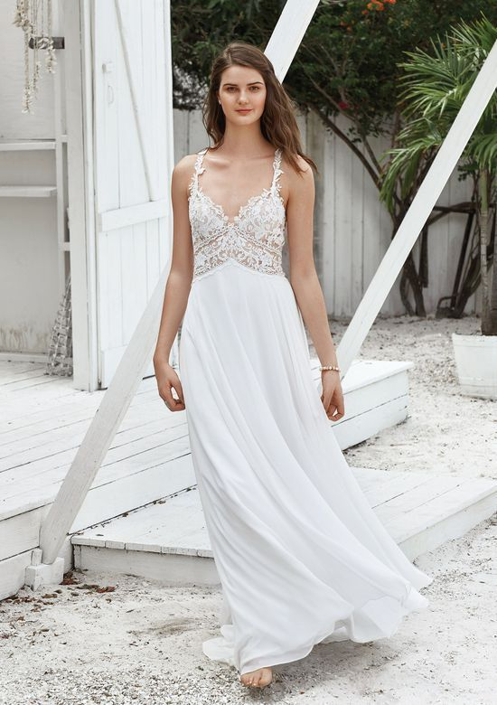 Style 66035 A Line Gown With Illusion Lace V Neck Bodice