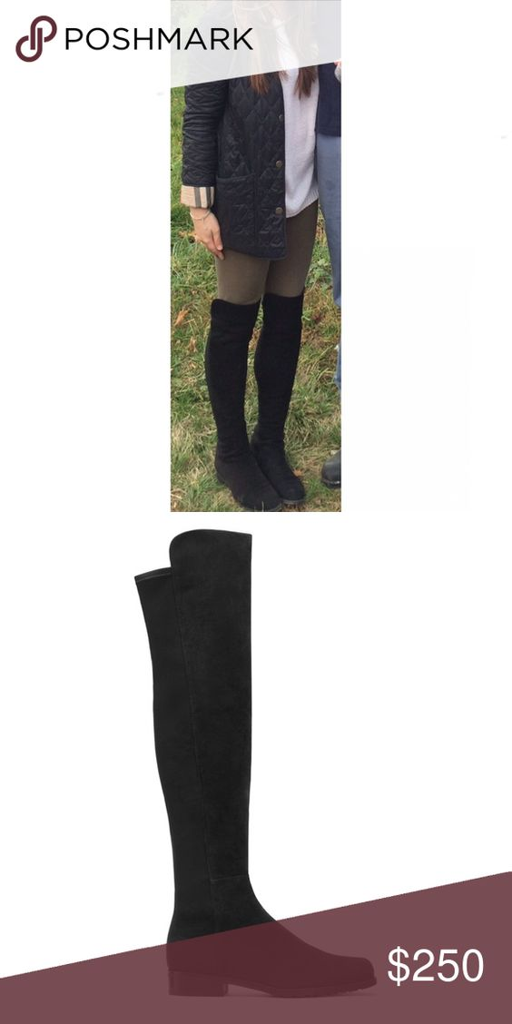 """THE 5050 BOOT - BLACK SUEDE- WILL ADD MORE PICS DETAILS Iconic over-the-knee boot, the 5050 has a uniquely stylish design of micro stretch and kidskin suede. The elasticized micro allows for a sleek look and the ultimate stretch to fit most legs.  MEASUREMENTS: .75"""" heel 19"""" shaft height (front extends additional 1.5"""") 14"""" shaft circumference   MATERIAL: Pull on with microstretch back Suede Leather insole Rubber sole  CONDITION:  Gently Used- some wear on soles and minor wear to suede Stuart…"""