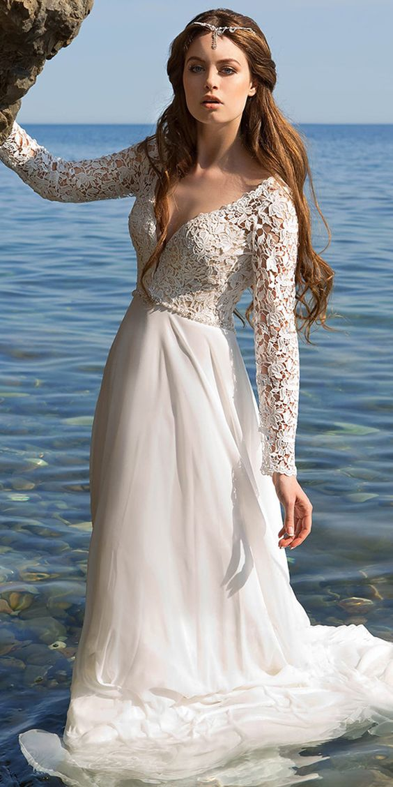 Gorgeous Lace & Chiffon V-neck Neckline A-line Wedding Dresses