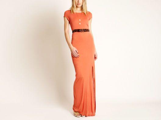 Coral-Orange Belted Maxi Dress.