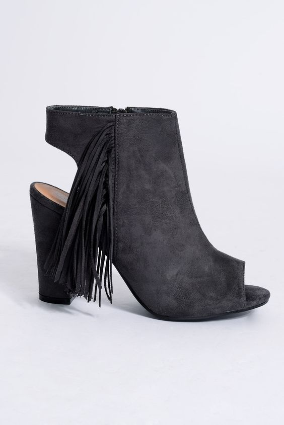 Darcie Charcoal Faux Suede Peep Toe Tassel Boots - In The Style