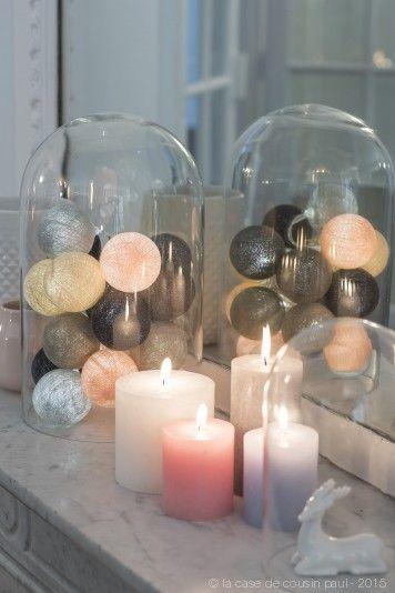Reflection. Cette guirlande lumineuse LED est composée avec du lin, argile, perle, graphite, anthracite et rose poudré. Retrouvez toutes nos suggestions sur http://www.lacasedecousinpaul.com/fr/collections/premium