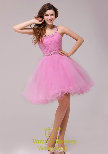Short Pink Halter Cocktail Party DressPink Cocktail Dresses Knee ...