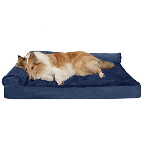 Furhaven Pet Dog Bed Deluxe Cooling Gel Memory Foam Orthopedic Plush Velvet L Shaped Lounge Pet Bed For Dogs Cats Deep Sapphire Jumbo Dog Pet Beds Pet Sofa Bed