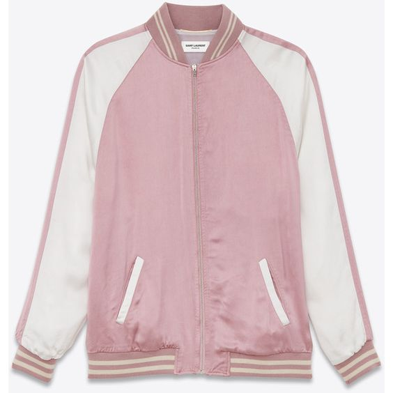 Saint Laurent Oversized Teddy Jacket in Vintage Pink and White