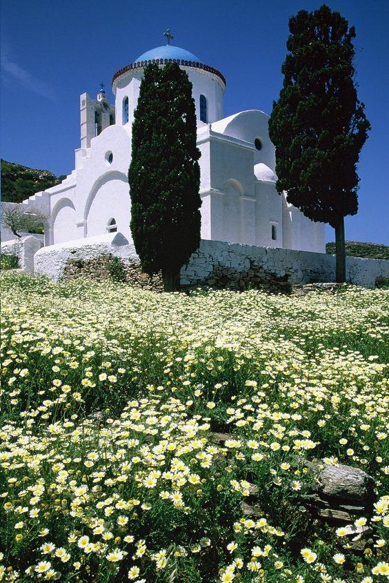 Panagia Poulati church in the spring (Sifnos)