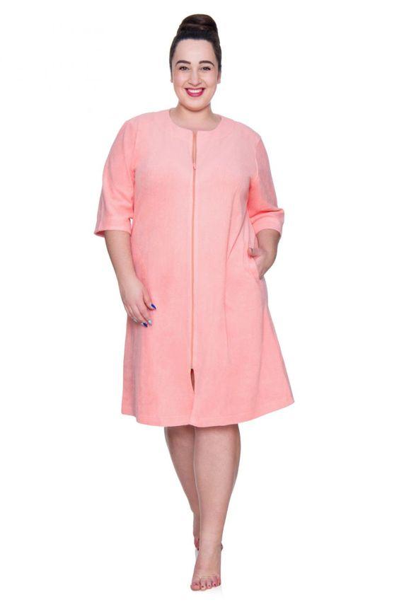 Szlafrok Podomka W Kolorze Lososiowym Modne Duze Rozmiary Fashion Dresses For Work Dresses