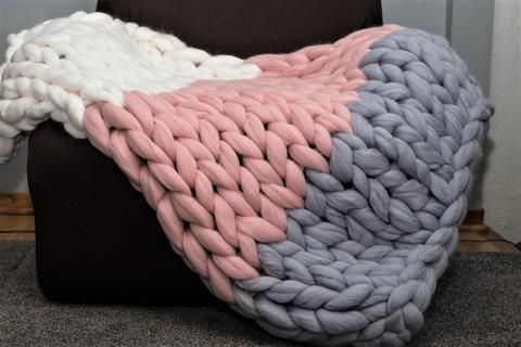 Throw Blanket Multi Colored Chunky Knit Blanket Diy Wool Throw Blanket Arm Knitting Blanket