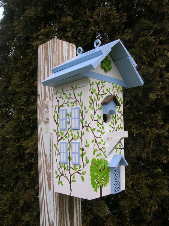 Traditional White Ivy-Covered Cottage Birdhouse Home and Garden Decor, by BillzBirdz of Rockford, IL