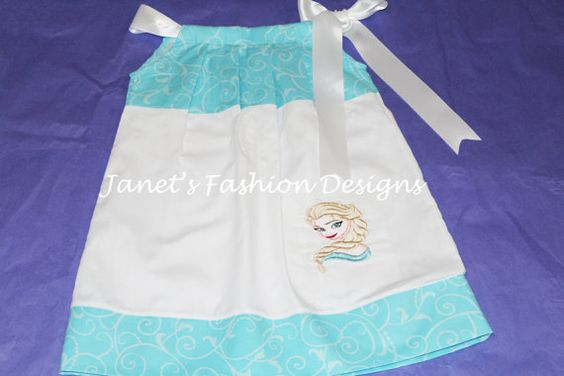 Elsa Turquoise Scroll Pillowcase Dress  by JanetsFashionDesigns
