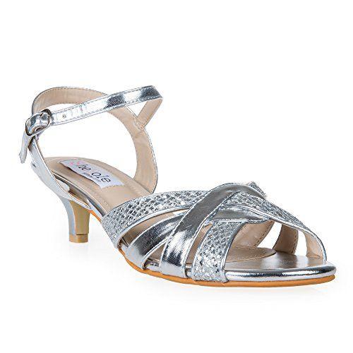 SheSole Womens Kitten Low Heels Glitter Ankle Strap Sandals