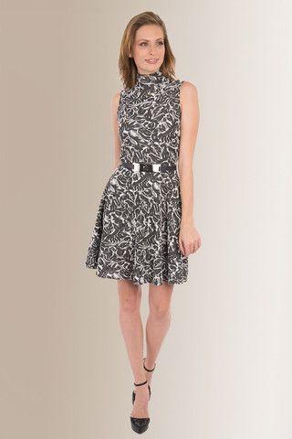 Vestido animal print blanco/negro