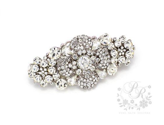 Wedding Hair Clip Rhinestone Clear Crystal Hair by PureRainDesigns