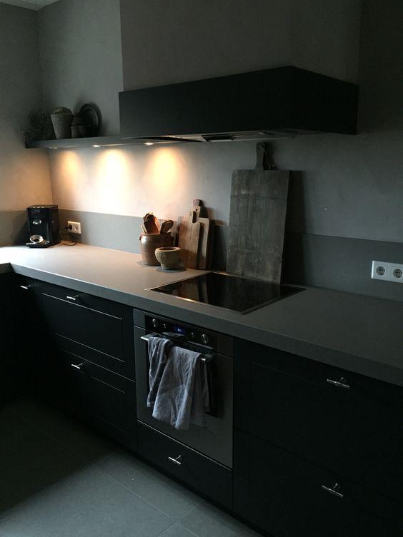 Donkerblauwe Keuken : Stoere sobere keuken Kalfverf carte colori Interior