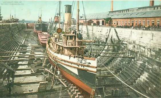 Dry Dock, Portsmouth Navy Yard, circa 1910  From the Herbert S. Fitzgerald…