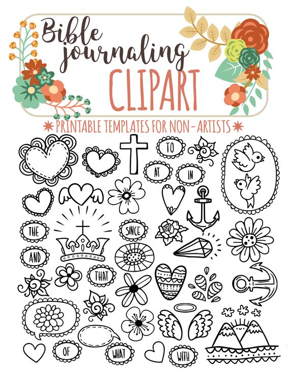 40 PRINTABLE TEMPLATES For Bible Journaling Verse Art
