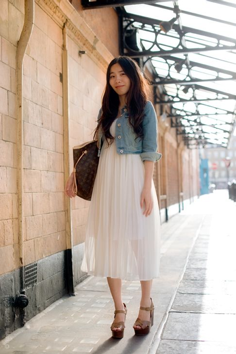 jean jacket over white dress with clog sandals. | Style