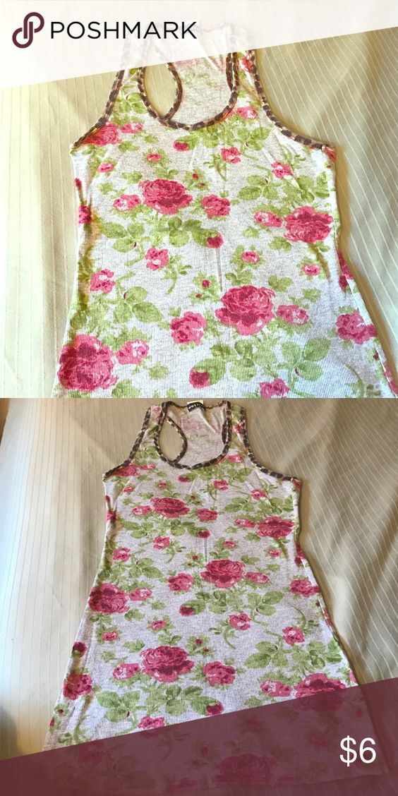 Floral cheetah tank top flowers pink gray green Good condition Wet Seal Tops Tank Tops