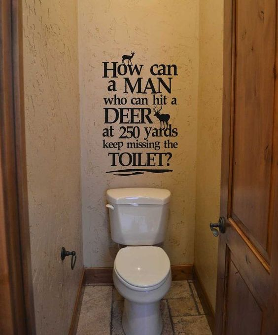 How can a man who can hit a deer KW738 vinyl lettering sticker home decor decal bathroom humor hunting deer quote