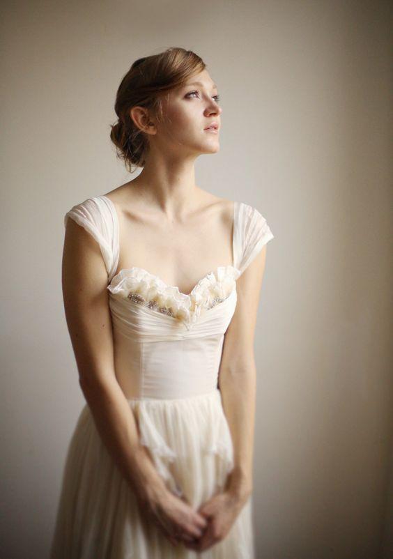 Alice- Silk Chiffon Wedding Gown--Etsy Exclusive. $1,695.00, via Etsy.