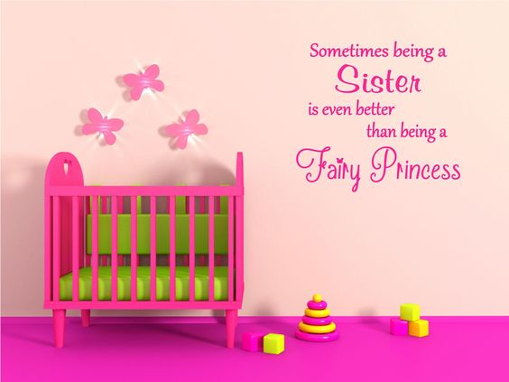 Sometimes being a Sister is even better than being a Fairy Princess - Vinyl Art Wall Decal, Princess Decor, Girl Bedroom Vinyl Decor, 25x23 by TheVinylCompany on Etsy