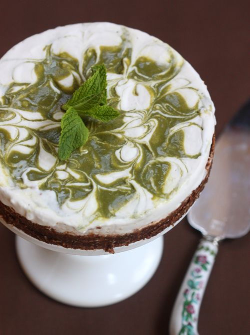 Whipped Coconut Cream Freezer Pie with a Mint Swirl & a Chocolate Coconut Crust