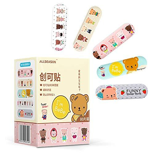 Hopelj 80 Pieces Cartoon Medical Child Plasters Lovely Waterproof Breathable Band Aid Sterile Back To School Supplies School Supplies List School Shopping List