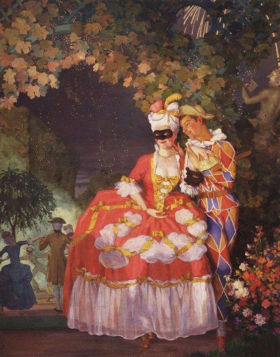 lady and harlequin-Konstantin Somov - 1921: