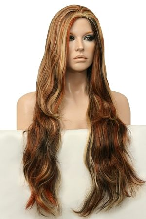 BEAUTIFUL// GORGEOUS // Flowing Long Layers Full Wig //RS32 - A Blend of Dark Brown, Auburn, Pale Blonde, Butterscotch & Sandy Blonde