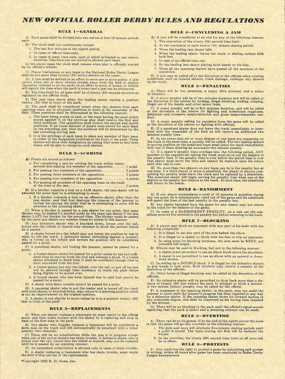 What did the rules of roller derby look like in 1952? #rollerderbyislife #rulesandregulations #vintagederby #derbygirldesigns