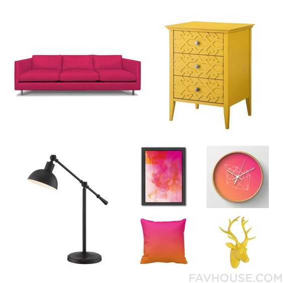 Decor Assortment Including Jonathan Adler Sofa Colored Furniture Home Decorators Collection Desk Lamp And Pink Home Decor From September 2015 #home #decor