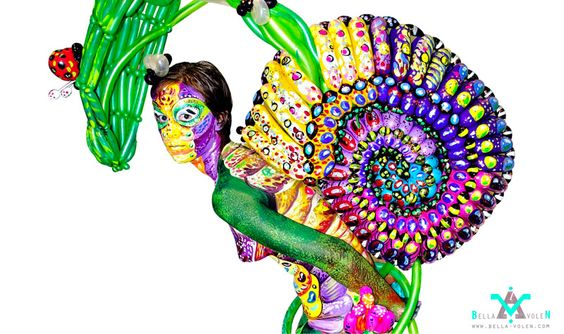 ... bella volen painty stuff body painting snail performance forward bella