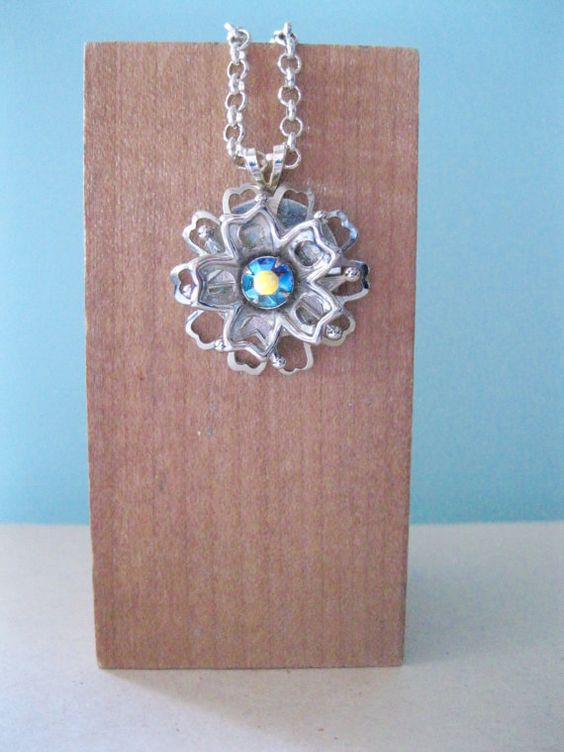 Flower Necklace Blue Rhinestone Spring and Summer by ToucheVintage