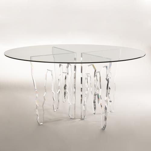 Ice 60 Dia Acrylic Dining Table W Glass Top Glass Top 60 Glass