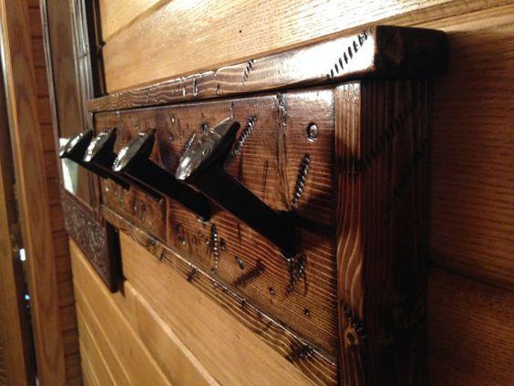 Railroad Spike Coat Rack by Rusticwoodandmetal on Etsy, $125.00