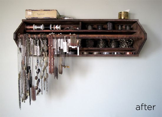 toolbox turned jewelry organizer....could work for any shelf