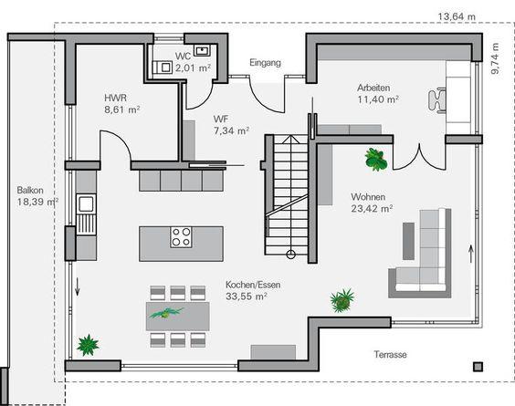 Offene Raumaufteilung, Offener Boden and Haus on Pinterest