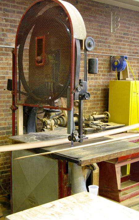 large band saw to cut arches on braces and beams.